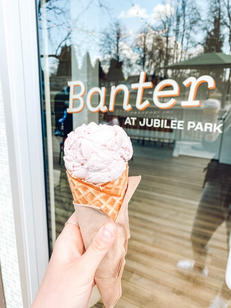 A fresh scoop of vegan ice-cream posted up outside of Banter Ice Cream Co.